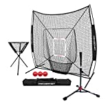 PowerNet 7x7 DLX Practice Net + Deluxe Tee + Ball Caddy + 3 Pack Progressive Weighted Ball + Strike Zone Bundle (Black) | Baseball Softball Coach Pack | Pitching Batting Training Equipment Set