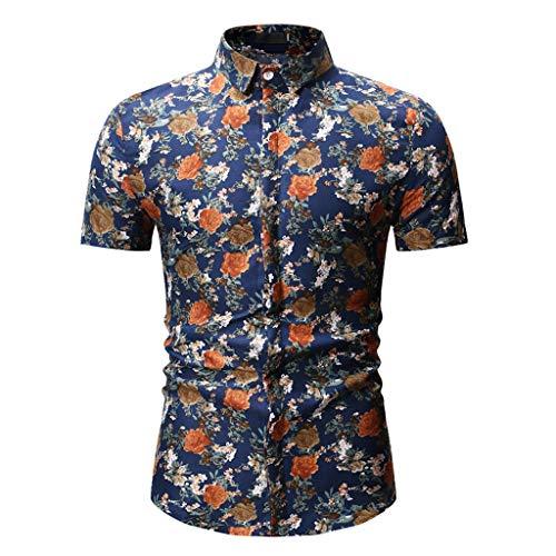 FRAUIT Heren korte mouwen opstaande kraag button shirt bloemenprint business mannen overhemden vrijetijdshemd/zwembroek 3D print Hawaii hemd en shorts voor heren jongens slim-Fit hemd met korte mouwen