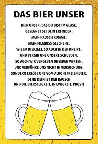 FS Spruch Das Bier Unser Blechschild Schild gewölbt Metal Sign 20 x 30 cm