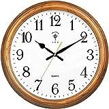 Sunmong Orologio da Parete Rotondo in Legno, Silenzioso e Senza ticchettio, Orologio da Parete retrò funzionante per Soggiorno, Camera da Letto, Cucina (Dimensioni: Altezza 35 5 cm / 14 Pollici) -
