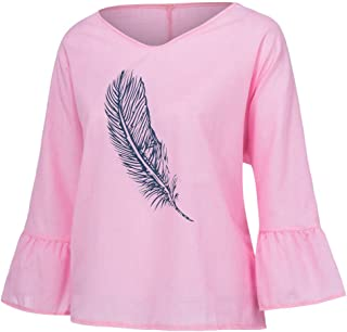 VESKRE Fashion Women Feather Printed O-Neck Long Sleeve Tops T-shirt Casual Blouse
