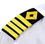 Package Contain: - 2 Rectangular Epaulette; Braid: 3/8th inch (Gold wire braid) Size: Free Size; Color:-Black with Golden Stripe; Weight: 0.06kg (approx) This 4 strip with Diamond epaulette is for Captain and the captain's or master's ranks are above...
