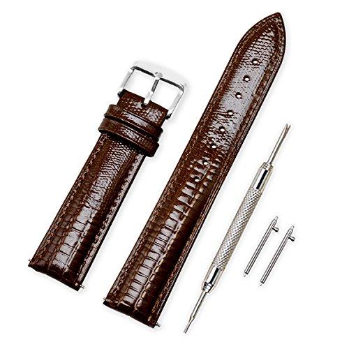 Vinband Cinturino Quick Release in Vera Pelle Cinturini Orologi Accessori Smart Bordatura Cucita - 14/16/18/20/22/24 mm Cinturino Orologio con Fibbia in Acciaio Inossidabile (20mm, Brown)