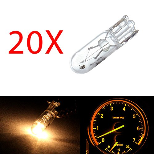 20 pcs T5 17 86 206 White Halogen Light Bulb Instrument Cluster Gauge Dash Lamp 12V