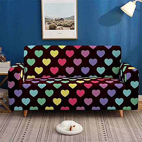 ADIS 3D Digital Colorful Pattern - Funda antideslizante para sofá de 1, 2, 3, 4 plazas, 235-300 cm