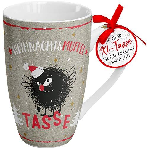 Die Geschenkewelt 49788 XL Tasse Happy Life Weihnachtsmuffel, 50 cl, Porzellantasse, Mehrfarbig