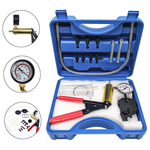 HTOMT 2 in 1 Brake Bleeder Kit Hand held Vacuum Pump Test Set for Automotive with Sponge Protected Case,Adapters,One-Man Brake and Clutch Bleeding System (Blue)