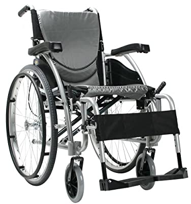 "Karman Ergonomic Wheelchair in 20"" Seat and Quick Release Axles, Pearl Silver Frame"