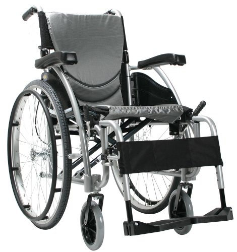 Karman Ergonomic Wheelchair in 18' Seat and Quick Release Axles, Pearl Silver Frame