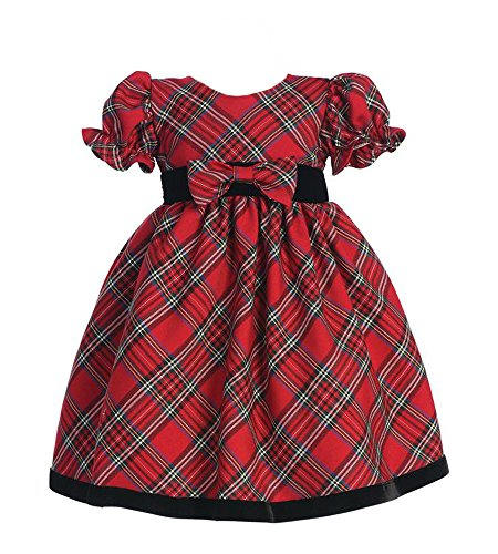 lito Girls Plaid Holiday Dress with Velvet Trim (18 - 24 months, Red)