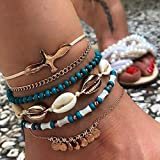 JINGRU 6pcs / Sets Tobilleras de Cuentas de Concha para MujerPigeon Gold Wafer Tassel Foot Chain Rope Summer Jewelry Wholesle