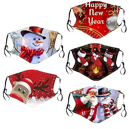 5PC Adult Christmas Face_Masks with Print Reusable Washable Breathable Face Bandanas Balaclava for Adults Women Men