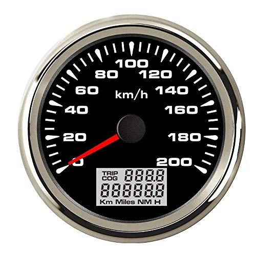 SYMJP A-U-D-I A3 B-M-W E90のための85ミリメートルGPSスピードゲージ毎時120キロの毎時200キロデジタルスピードメーターフィットカーマリンボート (Color : Black Silver 200kmh, Size : フリー)