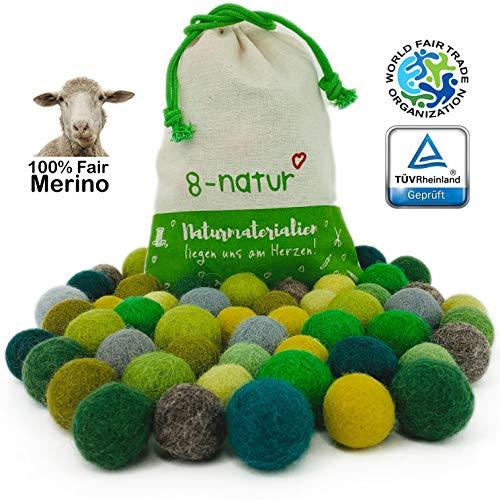 """8-Natur """"Mix Grün"""" Bunte Mischung aus 50 Filzkugeln 2,2cm dick aus Reiner Merinowolle zum Basteln von Girlanden, Baby Mobile und Filzkugelteppich oder einfach nur zur Deko"""