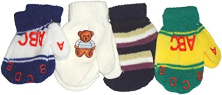 Baby Boys Baby Set of Four Pairs of Magic Stress Mittens for Infants Ages 0-6 Months.
