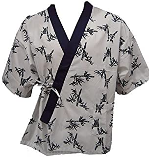 White Bamboo Print Sushi Chef Uniform (Large)