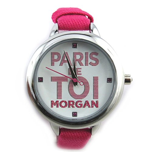 Morgan [N2370] - Orologio da polso 'french touch' 'Morgan' fucsia argentato (parigi voi).
