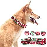 Pet Rejoir Creative Christmas Dog Collar Collection- 5 Designer Patterns Party Celebration- Starry Reindeer Holiday Dog Collar- Neck 15~19' Adjustable Collar for Medium Dogs