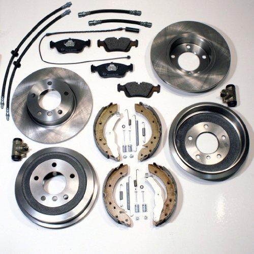 Bremsscheiben + Bremsbeläge + Bremsverschleißsensor vorne + Bremstrommeln + Bremsbacken + Radbremszylinder + Zubehör hinten + Bremsschläuche