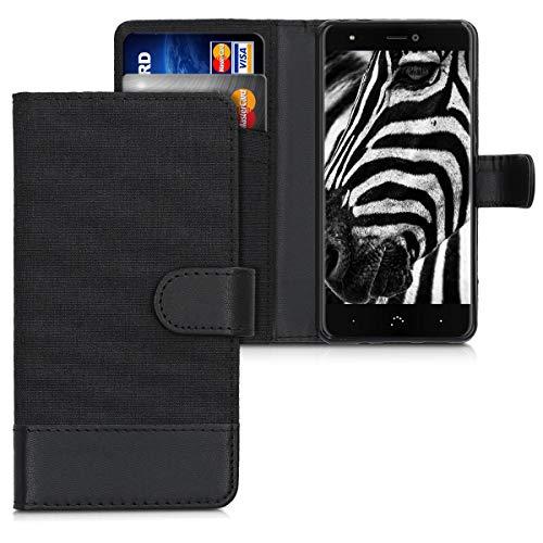 kwmobile Wallet Hülle kompatibel mit bq Aquaris X/X Pro - Hülle mit Ständer - Handyhülle Kartenfächer Anthrazit Schwarz