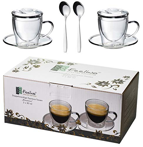 Feelino 2X 80ml doppelwandige Tassen + 2X GLASDECKEL + 2X Edelstahl-LÖFFEL Espressolöffel, Espressotassen mit Henkel und Untersetzer, modern und Zeitloses Design in toller Verpackung, by