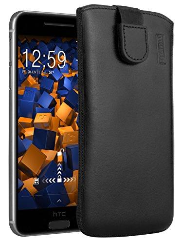 mumbi Echt Ledertasche kompatibel mit HTC One A9 Hülle Leder Tasche Case Wallet, schwarz