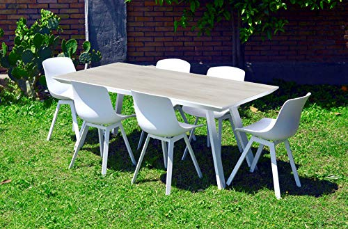 Scaramuzza Modo Tavolo da Giardino con Sedie Colore Bianco Top Ceramicato Struttura in Alluminio Sedie in Polipropilene