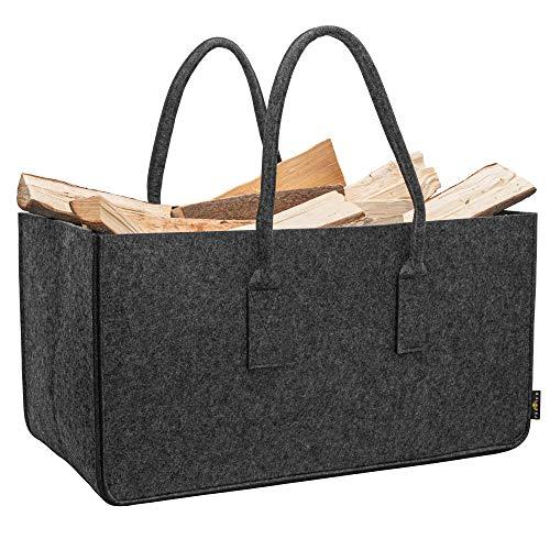 Rubberneck Allzweckfilztasche XXL mit Tragegriffen aus Filz für Holz, Zeitungen, Kaminholz - Filztasche Maße: 61 x 32 x 32 cm (Anthrazit)
