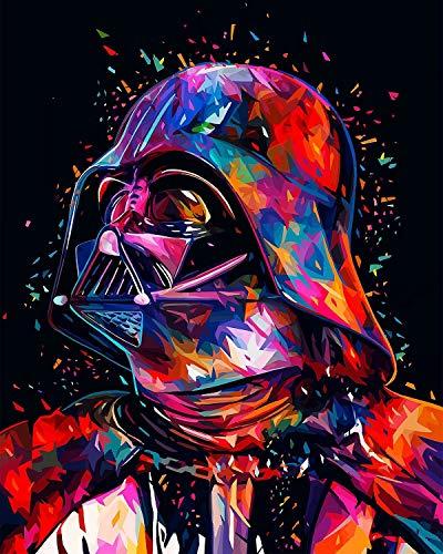 TAHEAT Nuevos kits de pintura por números Pintura al óleo sobre lienzo DIY para niños, estudiantes, adultos principiantes con pinceles-New Star Wars Darth Vader 16 * 20 pulgadas sin marco