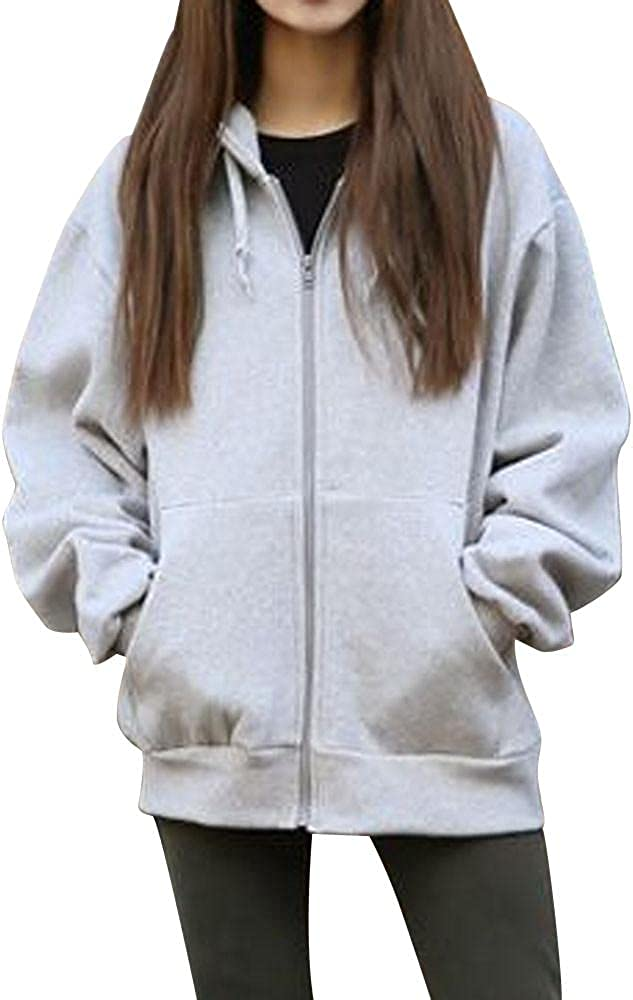 NEEKEY Soft Sweatshirts for Womens Comfortable Casual Lightweight Active Thin Zip-Up Hoodie Jacket Coat with Two Pockets