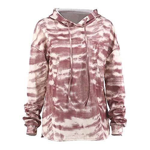 Bluza z kapturem, jesień, damska bluza z kapturem, gradient, długi rękaw, krawat, kolorowy, sweter damski, oversized S Pin