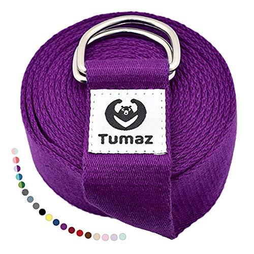 Tumaz Cinghia Yoga [15+ Colori 1.8-3M Piedi opzioni] con Fibbia ad Anello a D Regolabile Extra sicura, Struttura Delicata Durevole e Confortevole