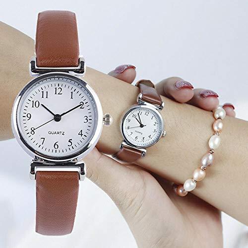 Relojes Relojes Clásicos para Mujer Reloj De Pulsera con Correa De Cuero De Cuarzo Informal Reloj Analógico Redondo Relojes De Pulsera Marrón