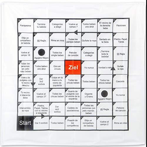 [VERSIÓN ESPAÑOLA] Juego de Beber, en una toalla de 70 x 70 cm, 54 campos de juego, Juego para Beber para Fiestas y Risas, Juego de Mesa pre-bebida para Estudiantes, Adultos, Juegos de Mesa