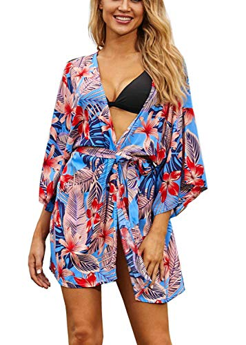 Orshoy - Albornoz para mujer, kimono, albornoz largo, pijama de playa, pareo, playa, pareo, bañador, playa, pareo, playa, poncho, blusa larga C9 Blumenkimono Talla única