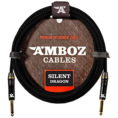 Silent Dragon Instrumentenkabel 4.5m schwarz. Geräuschloses Gitarrenkabel für die Elektrische und Bassgitarre - Klinkenstecker 6.35 mm mono (TS) Gerade