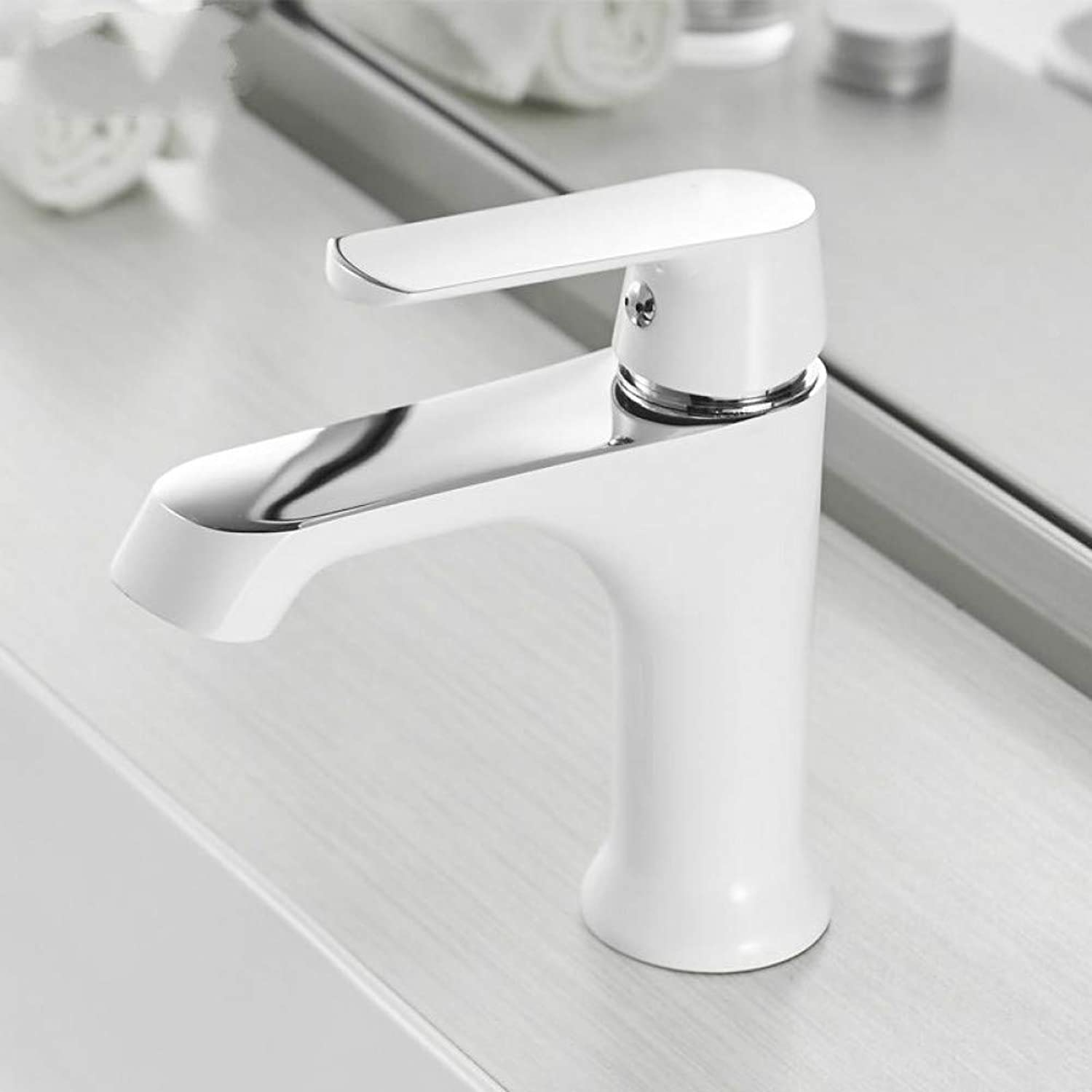 ZHFJGKR&ZL Basin Faucet Cold And Hot Water Taps Bronze White Fashion Single Hole Bathroom Mixer Faucet.A