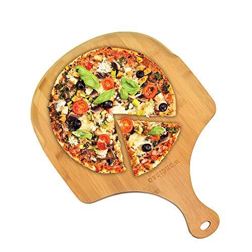Pala de pizza, piel de bambú natural de primera calidad, mango de espátula para cortar pizza, pan horneado, cortar frutas, verduras, queso (43,2 x 30,5 cm)