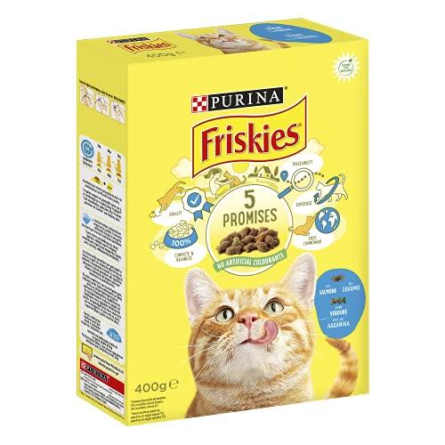 PURINA FRISKIES Crocchette Gatto Adult con Salmone e Verdure, 20 Confezioni da 400 g Ciascuna, Peso Totale 8 kg