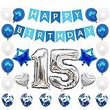 Liitata Globos de cumpleaños para 15 cumpleaños plateados y azules, con número 15, globos plateados con forma de corazón, globos de helio, confeti, globos para niñas y niños