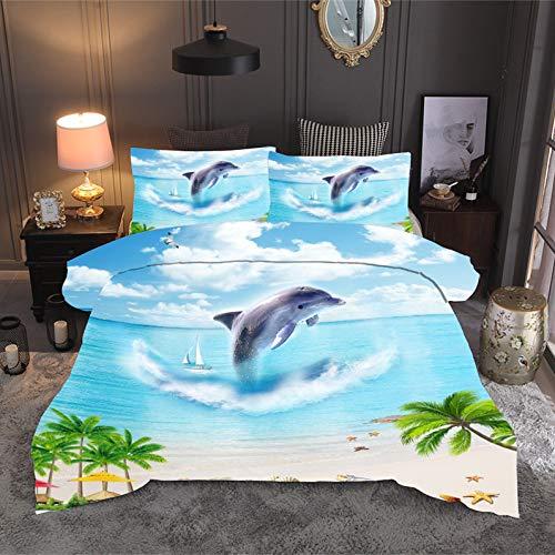 BH-JJSMGS Kissenbezug aus Steppdecke mit Strand- und Ozeanlandschaftsdruck, Bedruckte Bettdecke und Kissenbezug, Delphin 240 * 220 (dreiteilig)