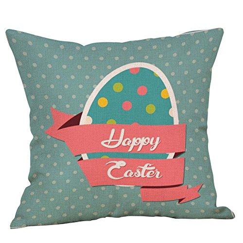 Reooly Happy Easter Funda de Almohada Sofá de Lino Juego de Alfombrillas de decoración para el hogar Juego de Almohadas 45cmX45cm