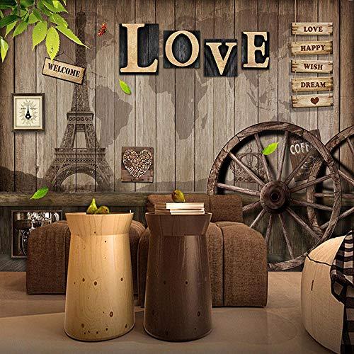 VGFGI Vinilo autoadhesivo moderno moderno Retro café restaurante amor rueda de madera Fondo pintura de pared pegatina impermeable decoración del hogar papel tapiz