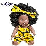 Nice2you Poupée Afro-Américaine Réalistes 12 Pouces Bébé Poupées pour Enfants Jouets pour Enfants (Jaune)