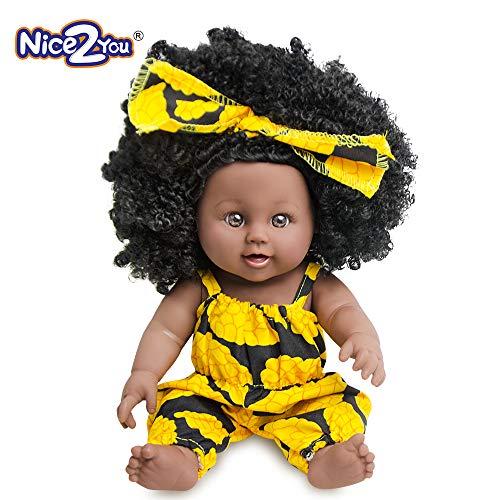 Nice2you Muñeca de Niña Afroamericana Baby Play de 12 Pulgadas para Niños Cumpleaños
