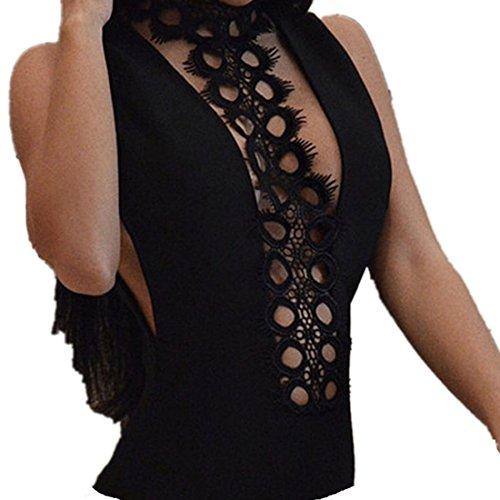 Kolylong® Damen sexy Spitze Bodysuit Frauen-reizvoller Form-Overall Bodysuit Oberteile Bluse (L)