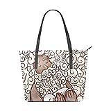 ISAOA Große Handtasche für Reisen, Schulter, Einkaufstasche, Strandtasche, Mann mit Haar und Bart