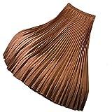 AsherFashion Women's Solid Pleated Skirt High Waist...