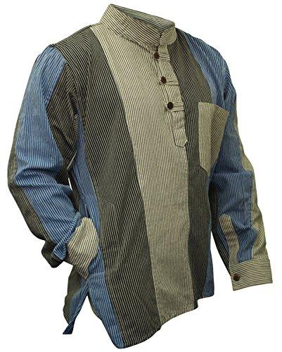 Shopoholic Fashion Herren-Shirt, Hippie, Großvater-Shirt, bunt gestreift Gr. XL, multi