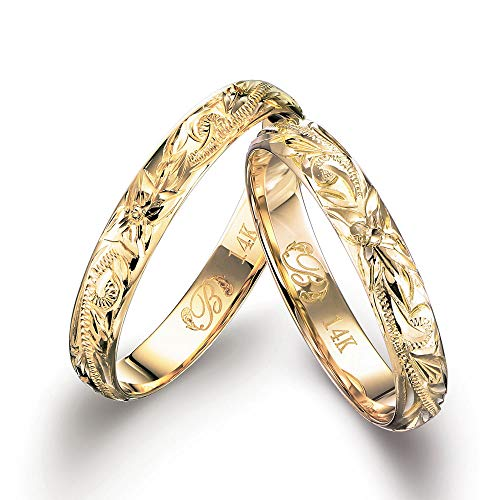 ハワイアンジュエリー ペアリング K14ゴールド 指輪 2個セット 【1個目:6号】【2個目:14号】 GMR1018P-PRIME